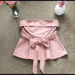 Ny&com Strapless bow front pink blush blouse